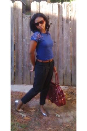 blue shirt - brown Goodwill belt - black Charlotte Russe pants - beige Target sh