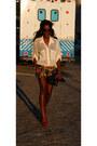 Steve-madden-shoes-h-m-shorts-market-publique-belt-american-apparel-blouse
