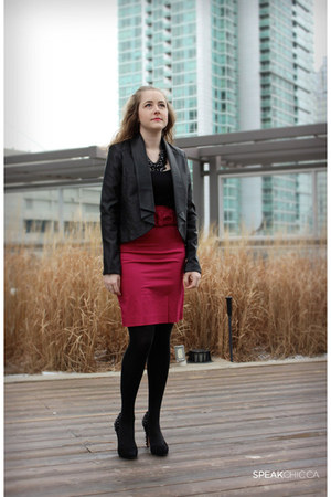 hot pink Jacob skirt - black pleather Dynamite jacket