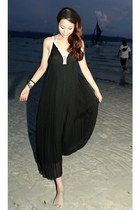 black cotton-chiffon Special Little Touch dress