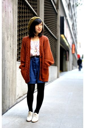 Yellow-uo-hat-orange-vintage-sweater-pink-f21-shirt-blue-vintage-shorts-