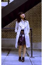 beige Old Navy jacket - white Trovata shirt - black Frye cardigan - purple Leifs