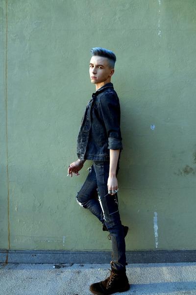 Guess boots - diy distressed H&M jeans - denim calvin klein jacket