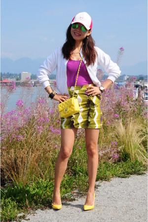 yellow Chanel bag - hot pink Adidas hat - white Adidas jacket