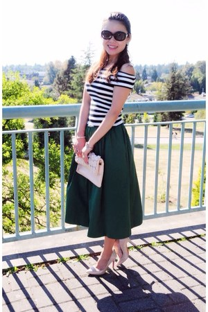 black striped Zara top - neutral Aldo bag - eggshell Christian Louboutin pumps