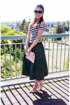 black striped Zara top - neutral Aldo bag - eggshell Christian Louboutin pumps