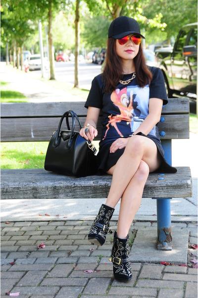 black Bebe boots - black Givenchy bag - black Givenchy top
