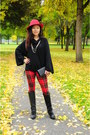 Black-miss-sixty-boots-black-vintage-sweater-red-forever-21-leggings