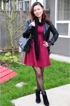 black ankle boots MTNY boots - brick red a-line dress Forever21 dress