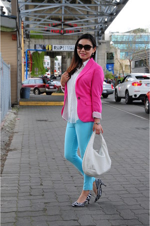 hot pink H&M blazer - aquamarine Zara leggings - white Forever 21 shirt