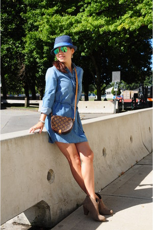 blue denim Gap dress - blue straw H&M hat - brown Louis Vuitton bag