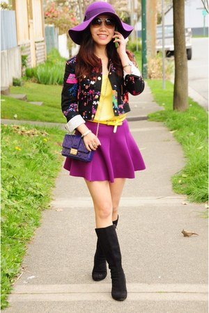 purple Forever 21 skirt - black calvin klein boots - versace jacket