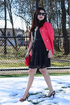 red faux leather Point Zero jacket - black lace Zara dress - red Forever 21 bag