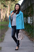 aquamarine pea coat JCrew coat - white Forever 21 top