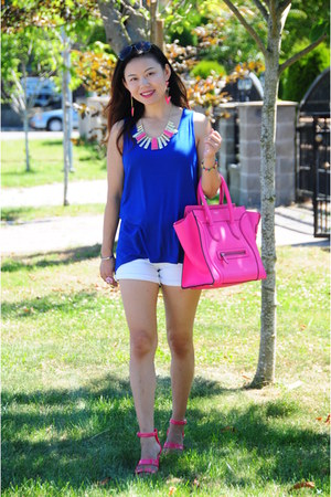 white denim Forever 21 shorts - hot pink Celine bag - blue tank Forever 21 top