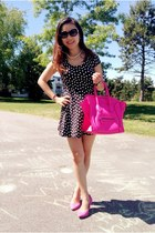 hot pink Celine bag - black dress - hot pink H&M pumps