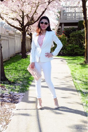 white BCBG blazer - white Bebe jeans - light pink Aldo bag