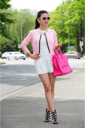 bubble gum lace Juicy Couture jacket - hot pink Celine bag - white Zara romper