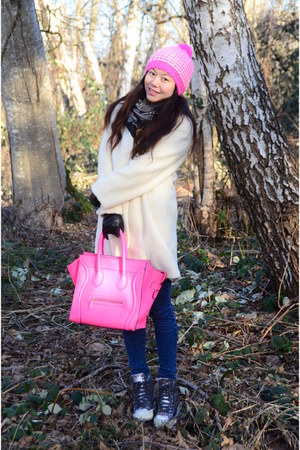 hot pink Forever 21 hat - white vintage coat - blue Guess jeans