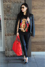 red Yves Saint Laurent bag - black leather DKNY jacket