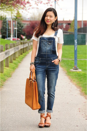 blue overalls Blue spice jeans - blue striped H&M blazer - brown Chloe bag