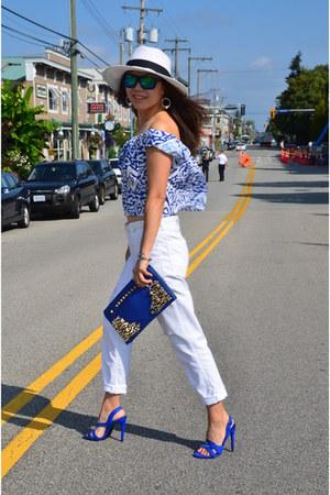 blue cropped Zara top - white ripped Zara jeans - blue suede Zara heels