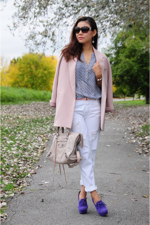light pink H&M blazer - white Zara jeans