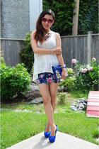Forever21 skirt - white Forever21 top - blue Steve Madden pumps