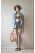 blue thrifted shirt - black thrifted swimwear - brown thrifted shoes - beige thr