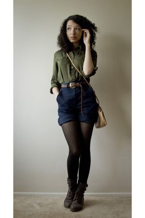 green banana republic shirt - brown thrifted belt - blue thrifted shorts - brown