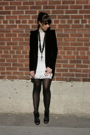 white Forever 21 dress - black funktional blazer - black Aldo shoes - black Fore