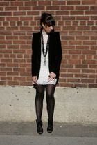 white Forever 21 dress - black funktional blazer - black Aldo shoes - black Fore