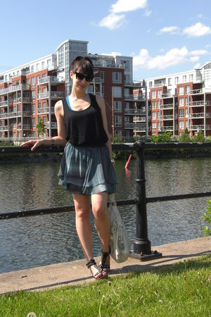 blue Forever 21 top - black H&M top - blue H&M skirt - black Forever 21 sunglass