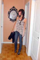 pink Forever 21 top - blue Buffalo Jeans jeans - black Aldo shoes - silver Trist
