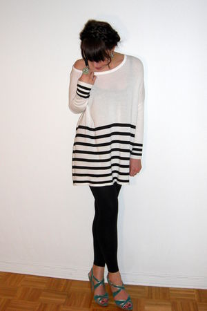 white H&M top - black random leggings - green Aldo shoes - green