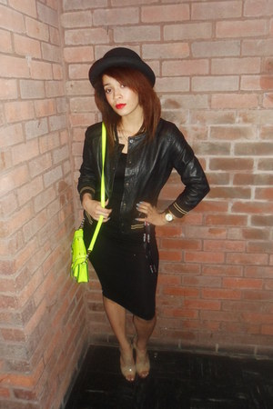 satchel neon River Island bag - pencil new look dress - unknown hat