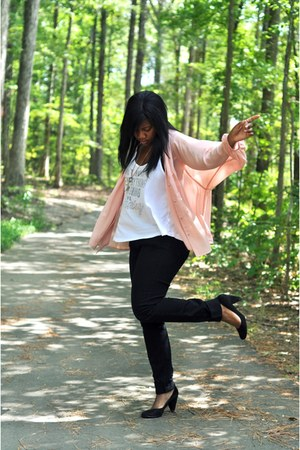 light pink tie front H&M blouse - black high waisted BDG jeans