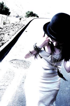 beige vintage dress - black H&M hat - gold thrifted belt