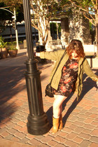 dark khaki H&M jacket - black Forever21 dress - tan boots