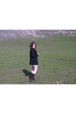 white American Apparel dress - black Sherman coat - orange thrift scarf - brown