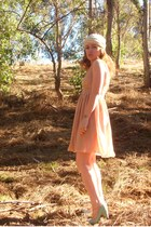 nude American Apparel dress - beige DIY scarf - aquamarine UO heels - gold ankle