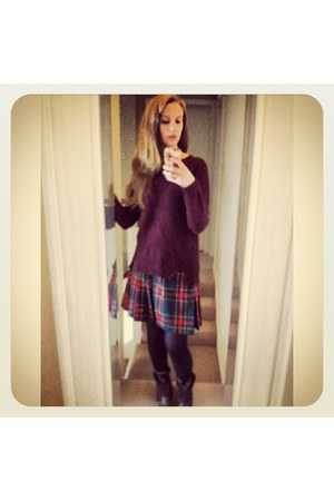 tartan vintage skirt - work River Island boots - fisherman knit Primark jumper