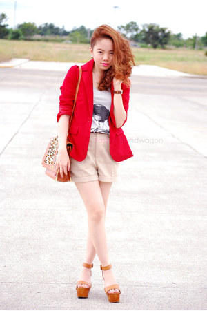 blazer - bag - blouse - wedges