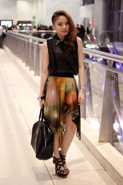 galaxy pinkaholic skirt - YSL bag - Pedro heels - pinkaholic top