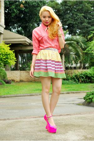 stripes Zara skirt - polo Forever 21 blouse