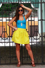 Yellow-zara-skirt-sky-blue-zara-top