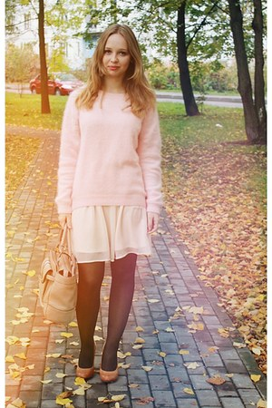 burnt orange Aldo heels - cream Bershka dress - light pink H&M sweater