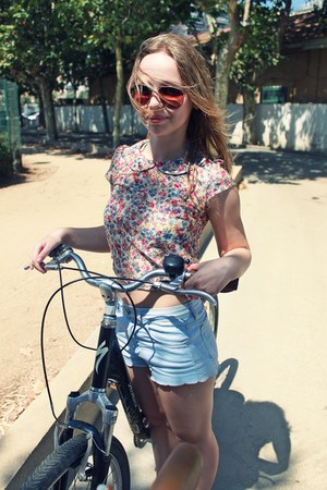 light blue denim shorts Topshop shorts - flower new look top