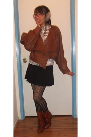 brown vintage jacket - white Forever 21 blouse - black Forever 21 skirt - black
