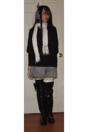 black Love Culture sweater - skirt - Ebay boots - handmade scarf